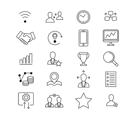 Set of business outline icons