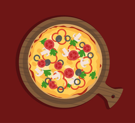 Flat pizza with vegetables on wooden paddle Illustration