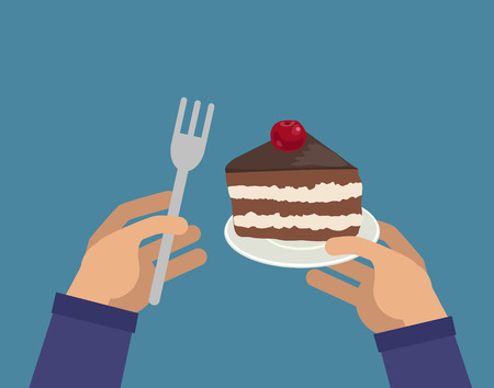 Hands holding piece of cake and fork