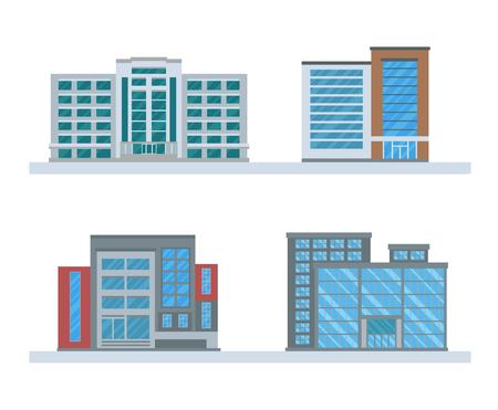 Set OF Flat Business Buildings