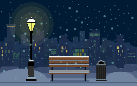 Night Winter Cityscape and bench