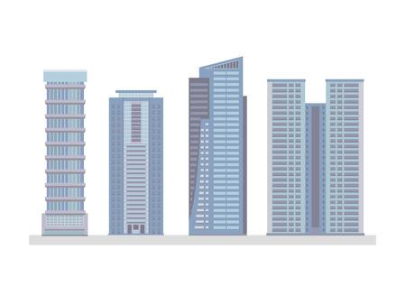 Set OF Flat City Skyscraper Business Buildings Illusztráció