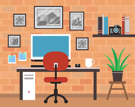 brich: Modern Photographer Room with Brick Wall Illustration