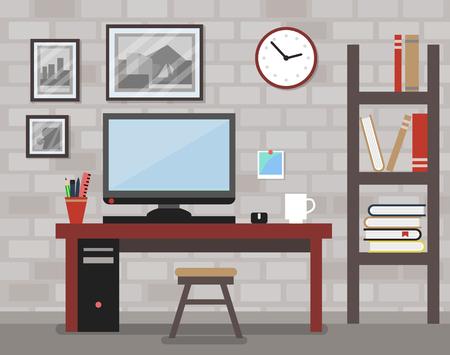 Modern Designer Room with Brick Wall Illusztráció