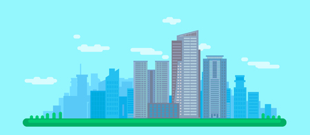 Flat Cityscape With High Buildings