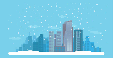 Flat Winter Cityscape With High Buildings