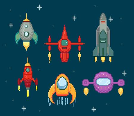 Pixel collection of spaceships with stars Illusztráció