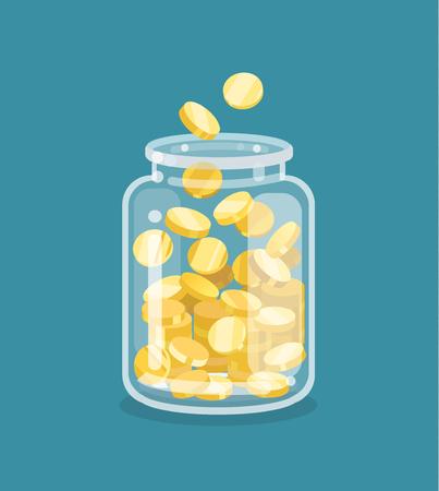 Saving flat money jar with coins Illusztráció