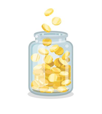 Saving flat money jar with coins on white background Illusztráció