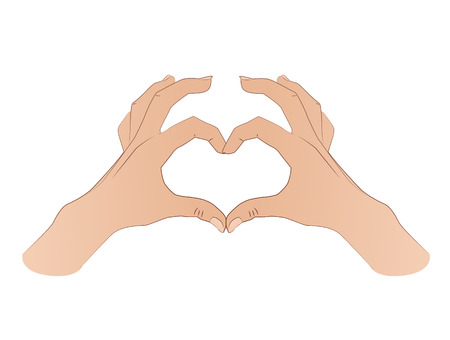 Hands shaping a heart symbol Isolated on white background