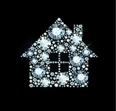 House made of shiny diamonds Illusztráció