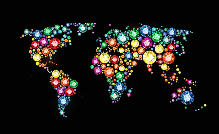 World map made of colored gems