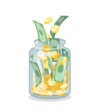 Saving flat money jar on white background Vectores
