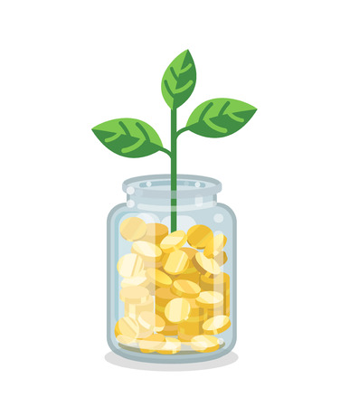 Saving flat money jar with coins and sprout on white background