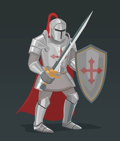 Vector knight with sword and shield Illusztráció