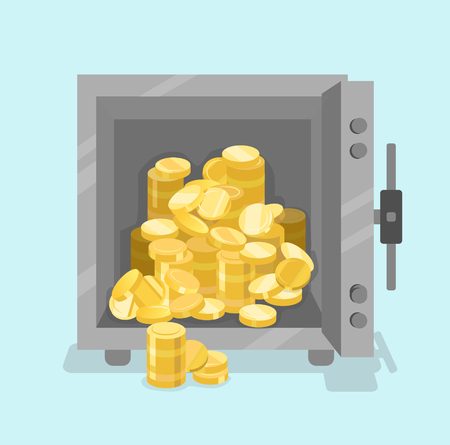Vector opened safe with coins in front view. Opened with money inside. Flat style