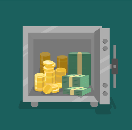 Vector opened safe with coins and cash in front view. Flat style