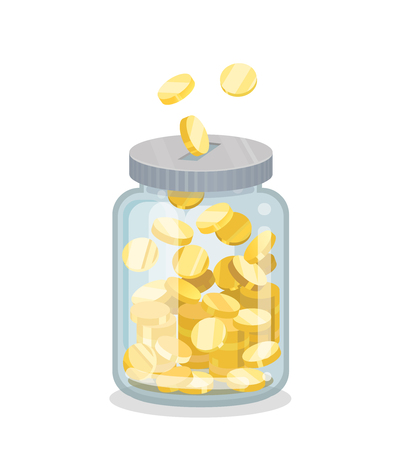 Saving flat geld jar Stock Illustratie