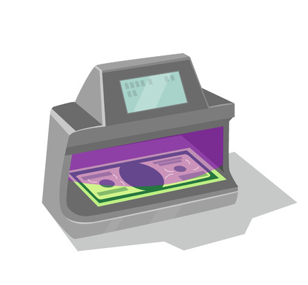 fake money: Ultraviolet banknote detector Vectores
