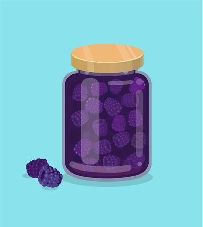 Raspberry jam vector illustration with fresh berry