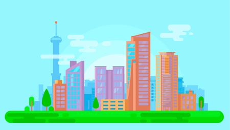 Colorful urban cityscape