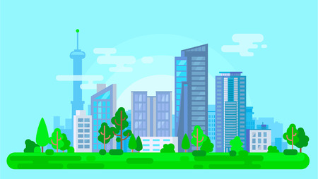 Colorful cityscape with green trees