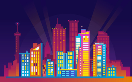 Colorful urban night cityscape
