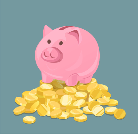 Piggy Bank and Coins On Blue Vector Illustration