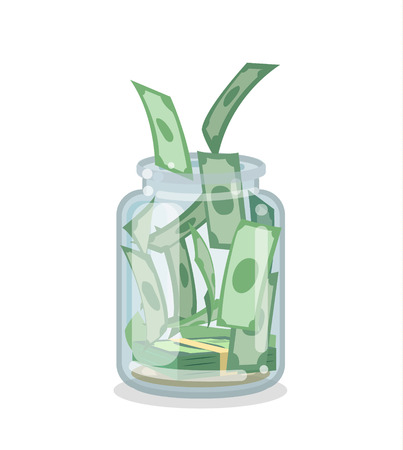 Saving money jar flat style concept.