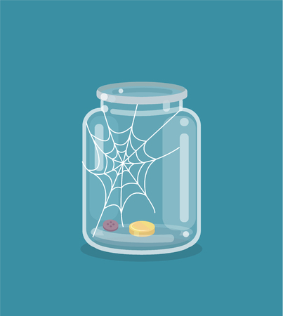Saving flat empty money jar
