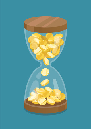 wealth management: Hourglass with coins. Time is money.