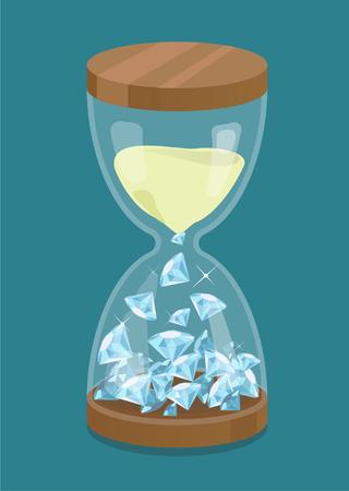 Hourglass with diamonds. Time is money. Illusztráció