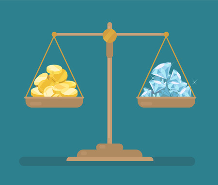 Coins and diamonds balance on the scale