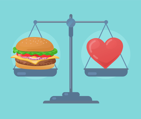 weigher: Health balance on the scale. Vector illustration.