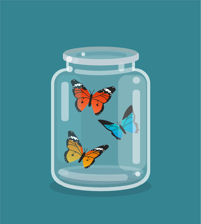 Jar and beautiful butterflies inside