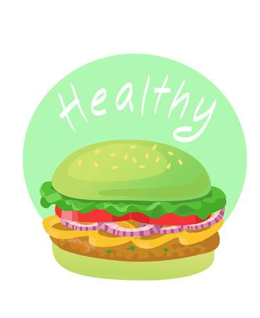 Healthy food. Green vegetable burger