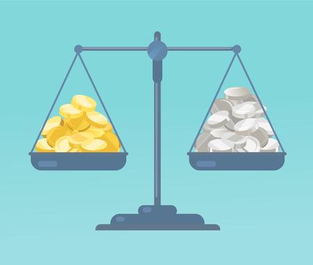 Coins and on the scale vector illustration. Illusztráció