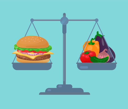 vegetarian hamburger: Burger and vegetables balance on the scale Illustration