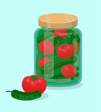 preserved: Jar with pickled cucumbers and tomatoes flat illustration