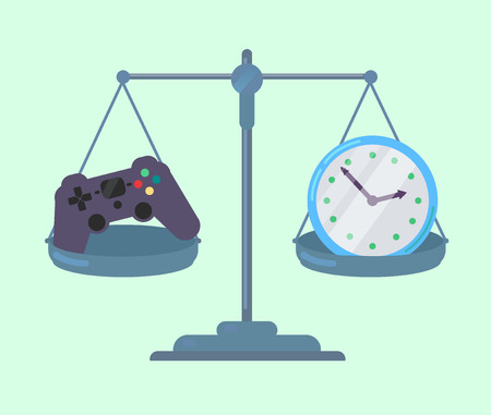 Game controller and clock on scales Illusztráció