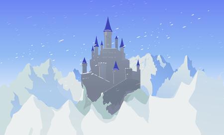 Landscape With Castle And Mountaines With Snow Illusztráció