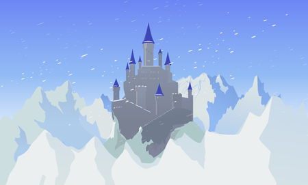 Landscape With Castle And Mountaines With Snow Illustration