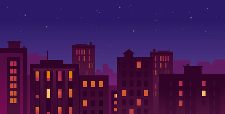 Flat Vector Modern Night City With Bright Buildings