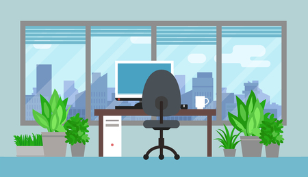 Office room interior with green plants and cityscape Illustration