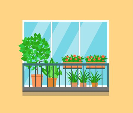 Flat balcony decorated with plants and flowers.