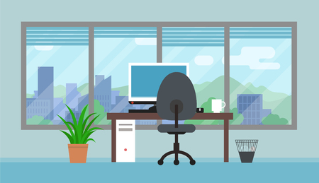 Office room with big window and landscape