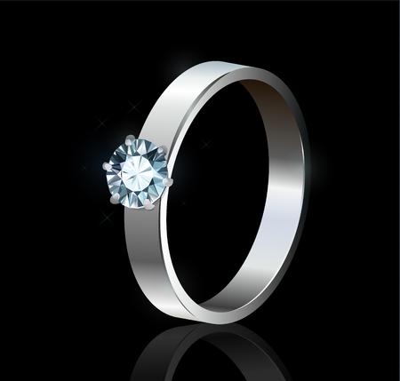 Ring with diamond on black background Illusztráció
