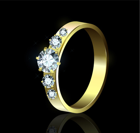 Ring with diamonds on black background