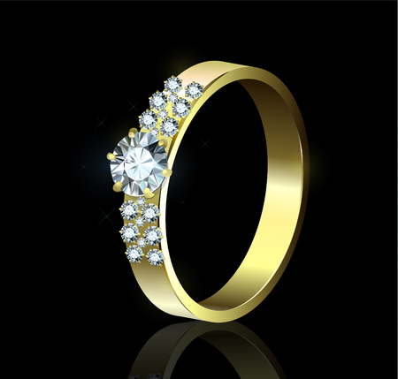 exuberance: Gold ring with diamonds on black background