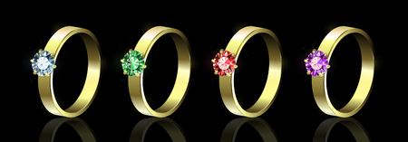 Set of rings with colored gems on black background